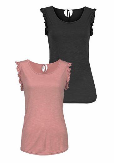 LASCANA Shirts (2 Stück) mit Volants an den Armausschnitten
