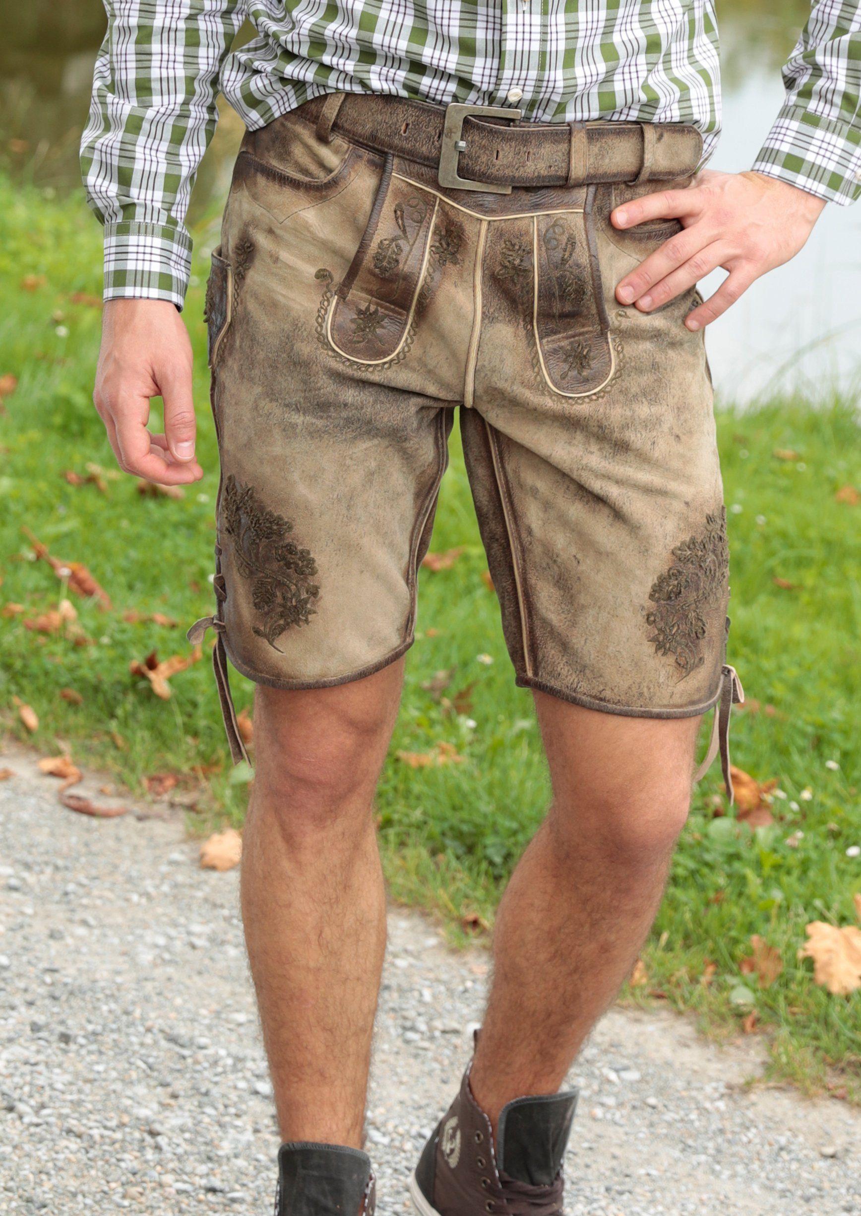Country Line Trachtenlederhose kurz Herren im Used Look