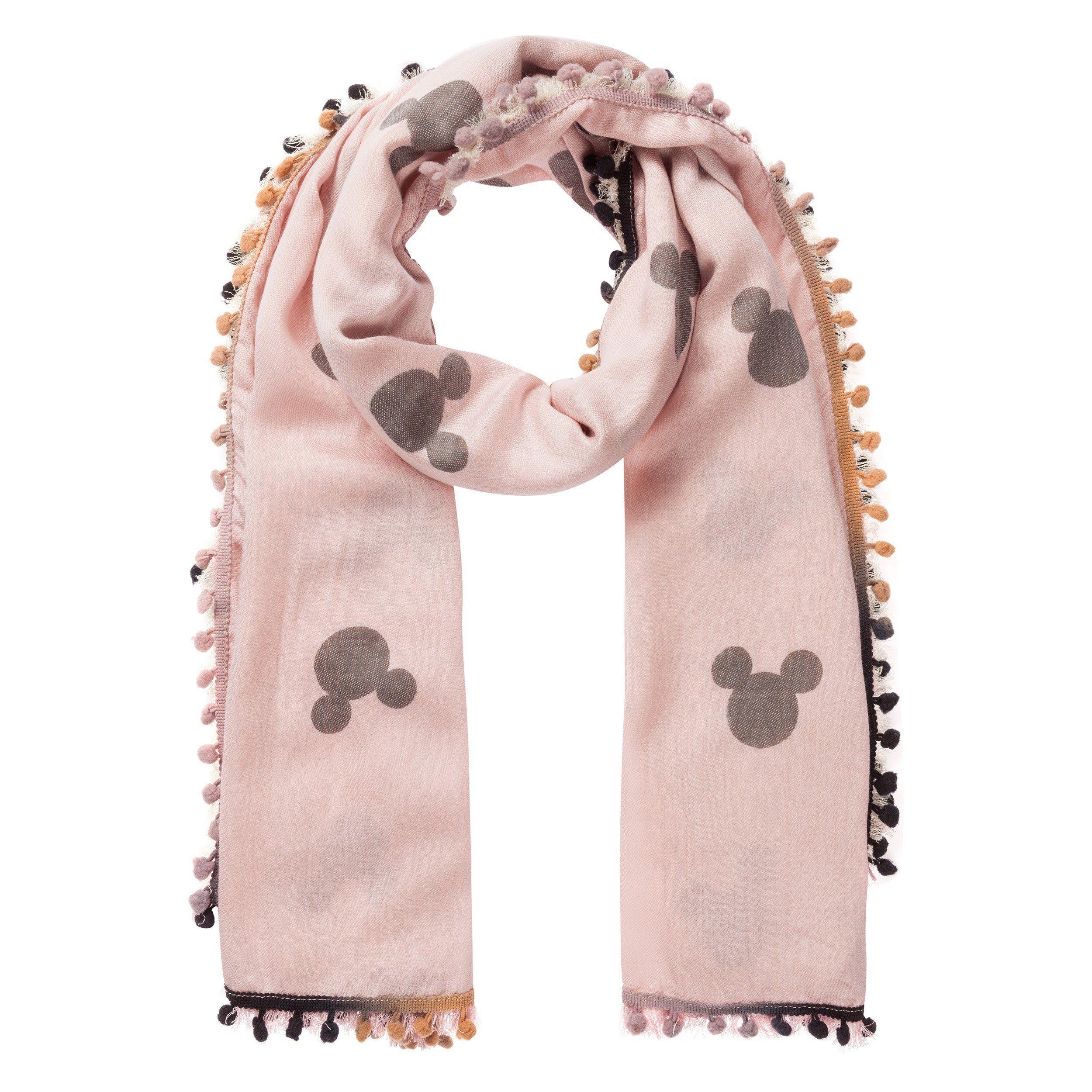 Codello Schal mit Troddeln und Mickey Mouse Motiv