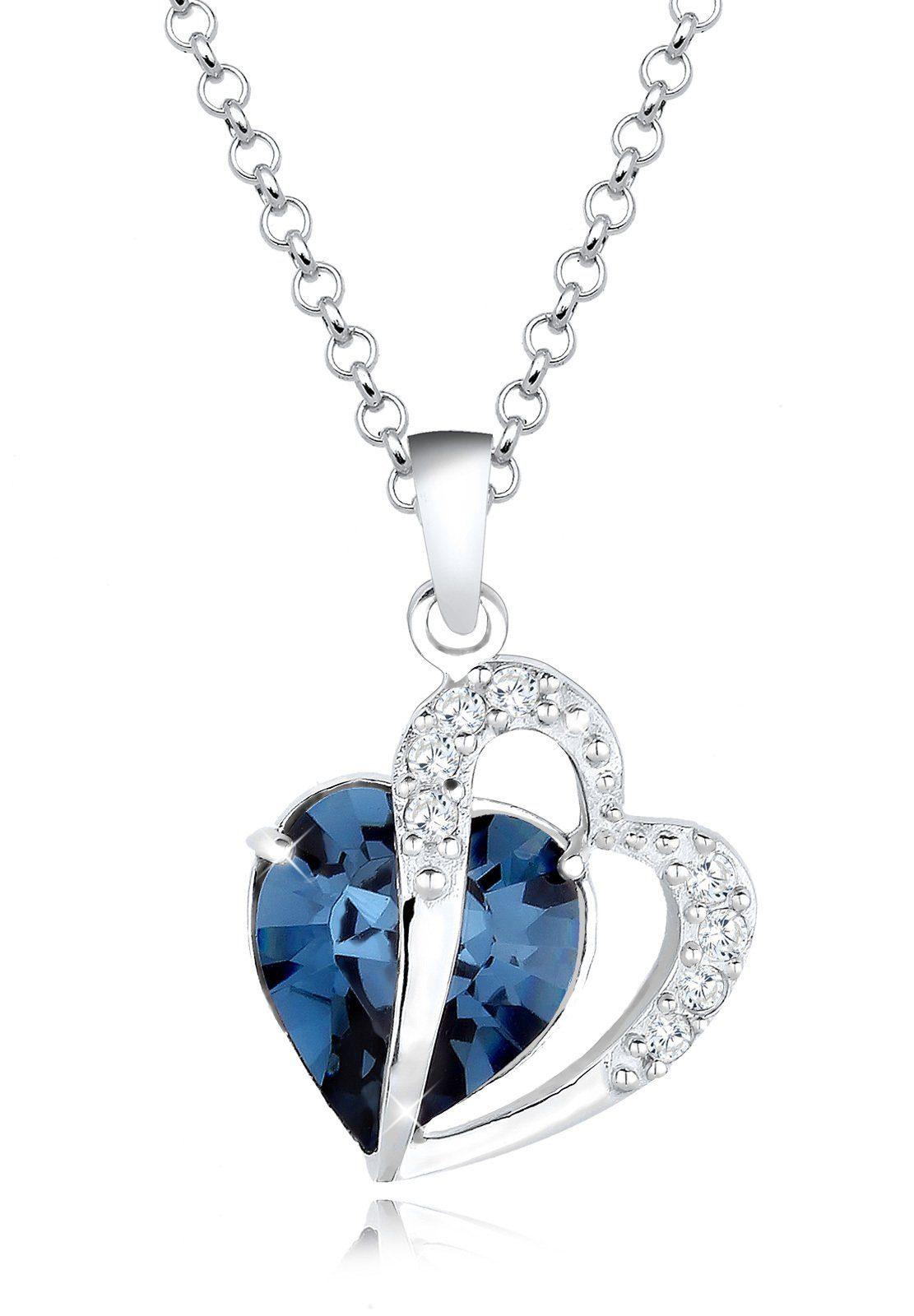 Elli Halskette »Herz Zwei Swarovski® Kristalle 925 Sterling Silber«