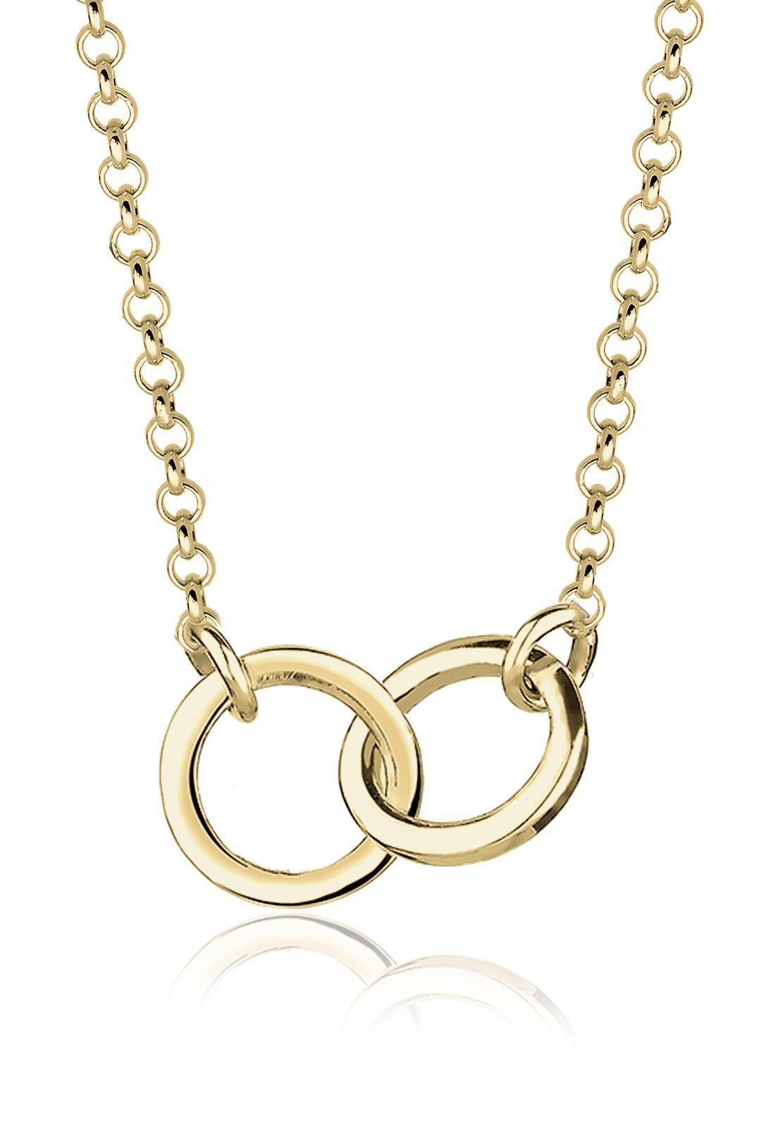Elli Halskette »Kreise Geo Minimal Verbundenheit 375 Gelbgold«