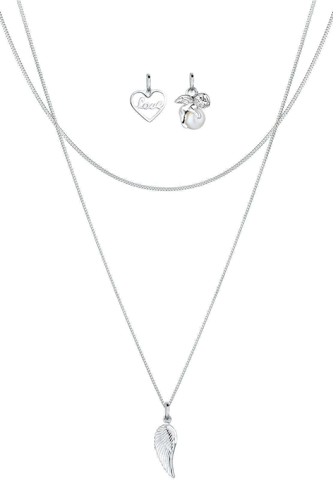 Elli Set: Halskette »Anhänger-Set Herz Engel Flügel Perle 925 Silber« 3 tlg.
