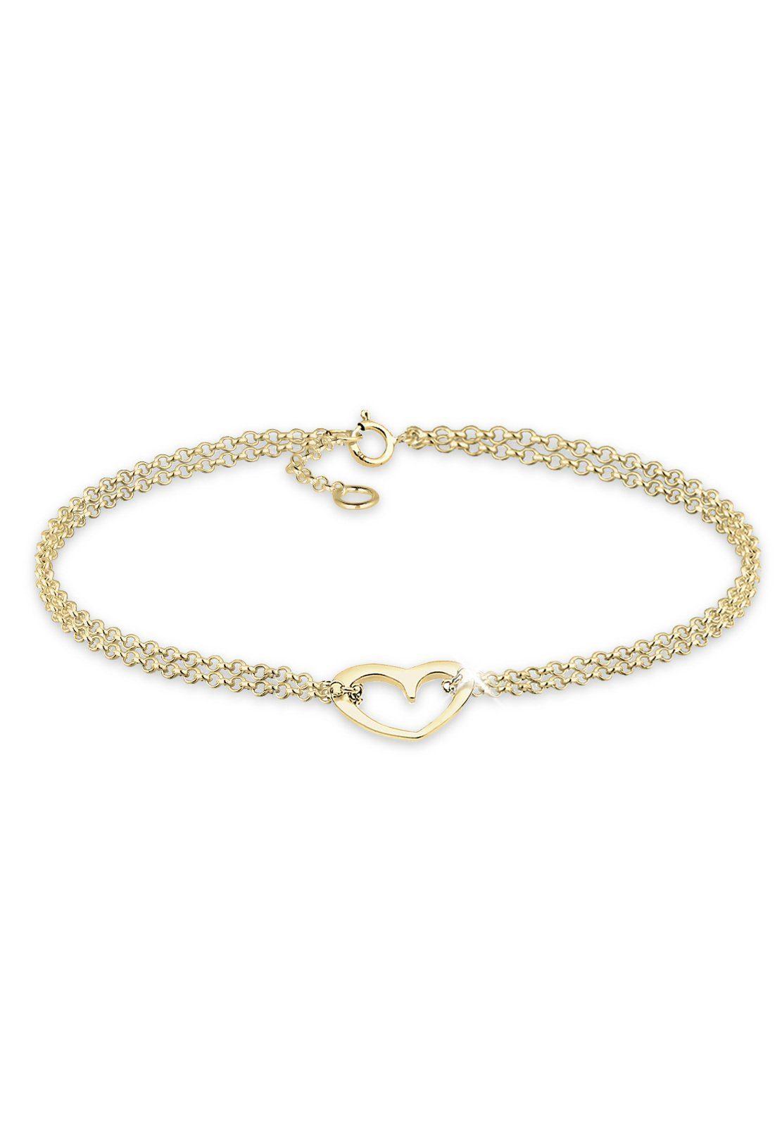 Elli Armband »Herz 375 Gelbgold«