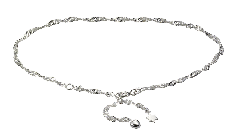 Firetti Fusskette »925/- Sterling Silber rhod. Herz + Stern«