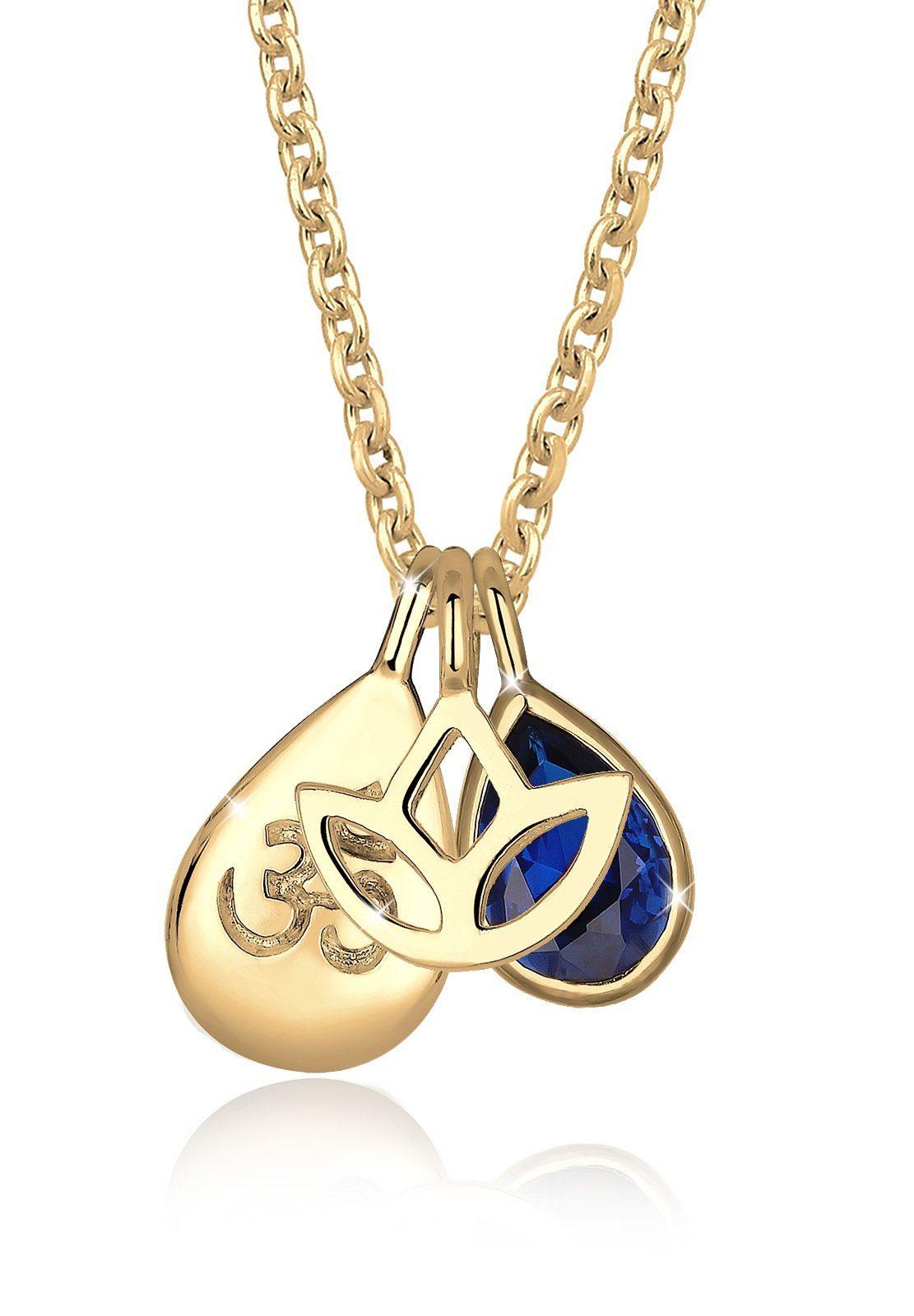 Elli Halskette »Om Lotusblume Saphirblau 925 Sterling Silber«