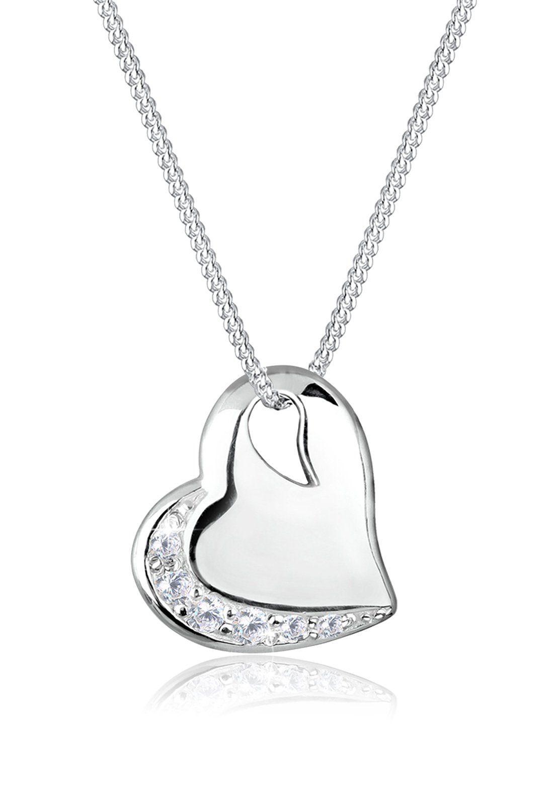 Elli Halskette »Herz Liebe Zirkonia Edelstein 925 Silber Fedra«