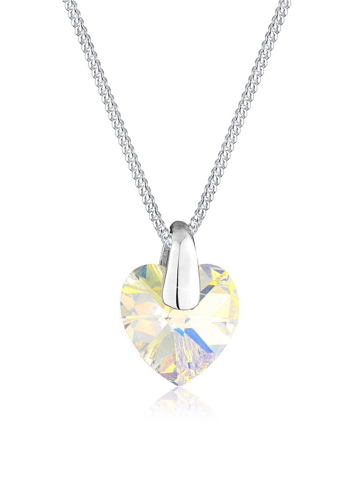 Elli Halskette »Herz Liebe Swarovski® Kristalle 925 Silber«