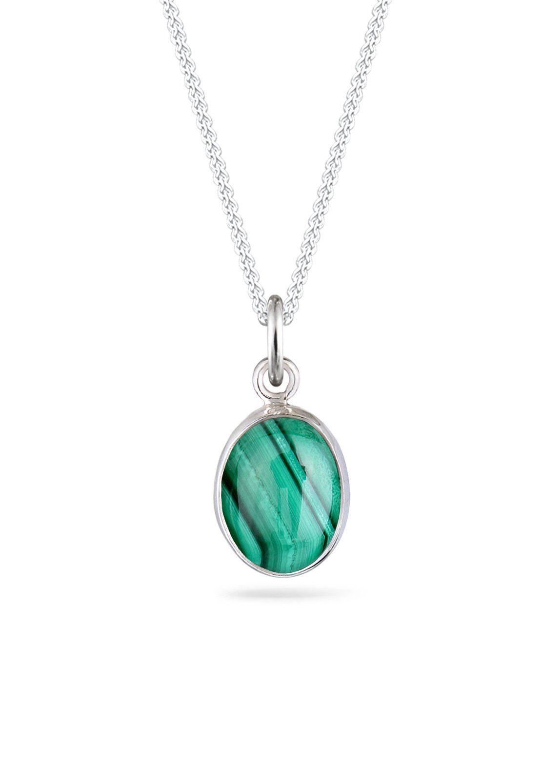 Elli Halskette »Basic Edelstein Malachit 925 Sterling Silber«