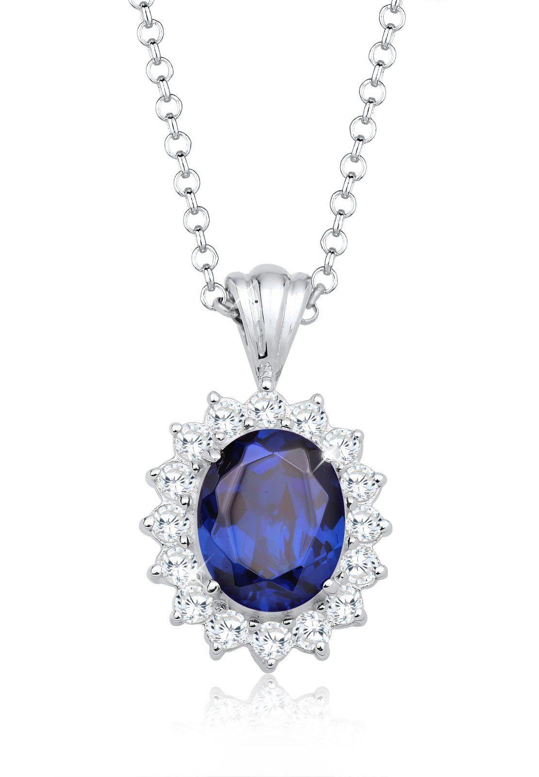 Elli Halskette »Royal Saphirblau Zirkonia 925 Sterling Silber«