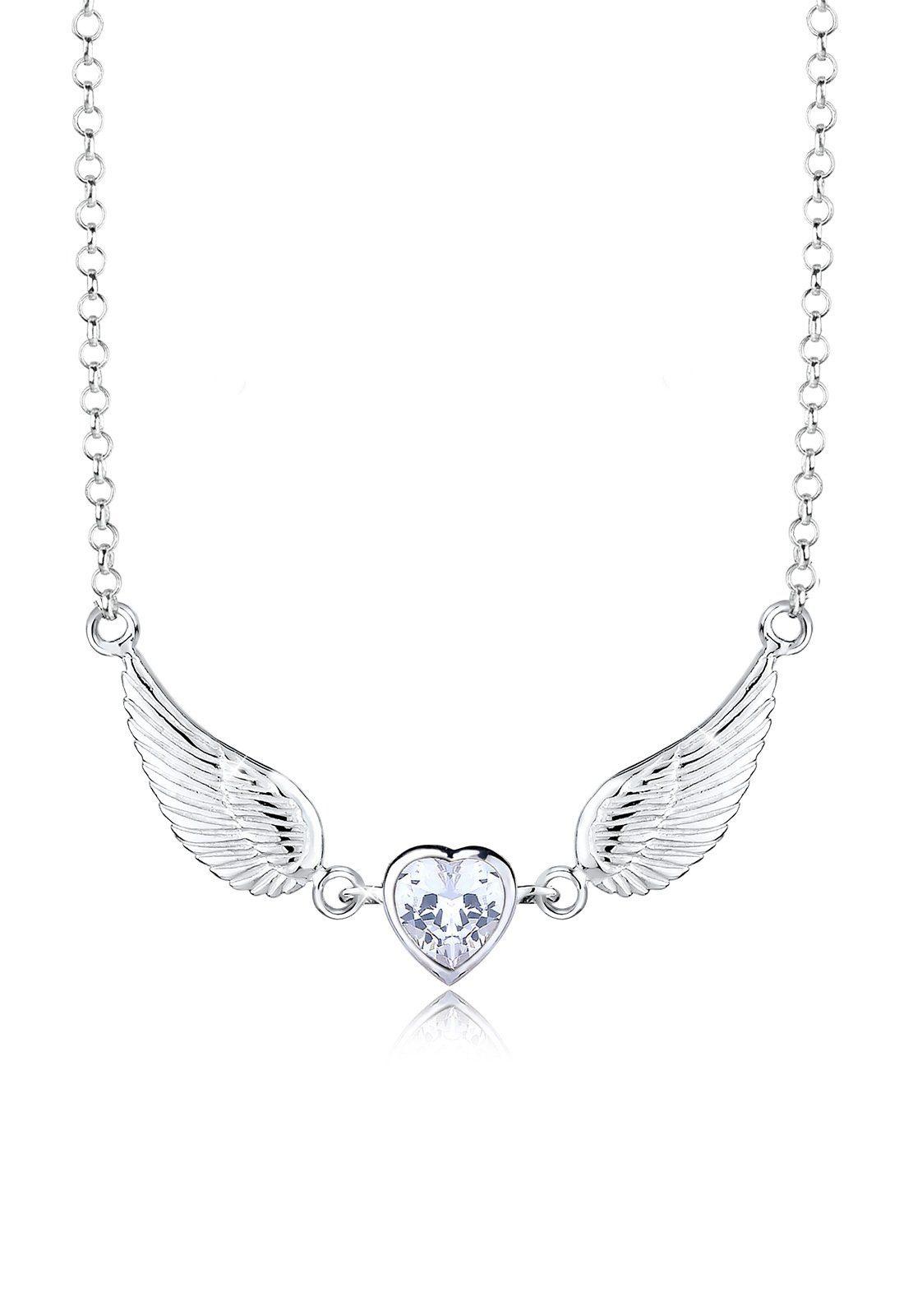 Elli Halskette »Flügel Herz Zirkonia 925 Sterling Silber«