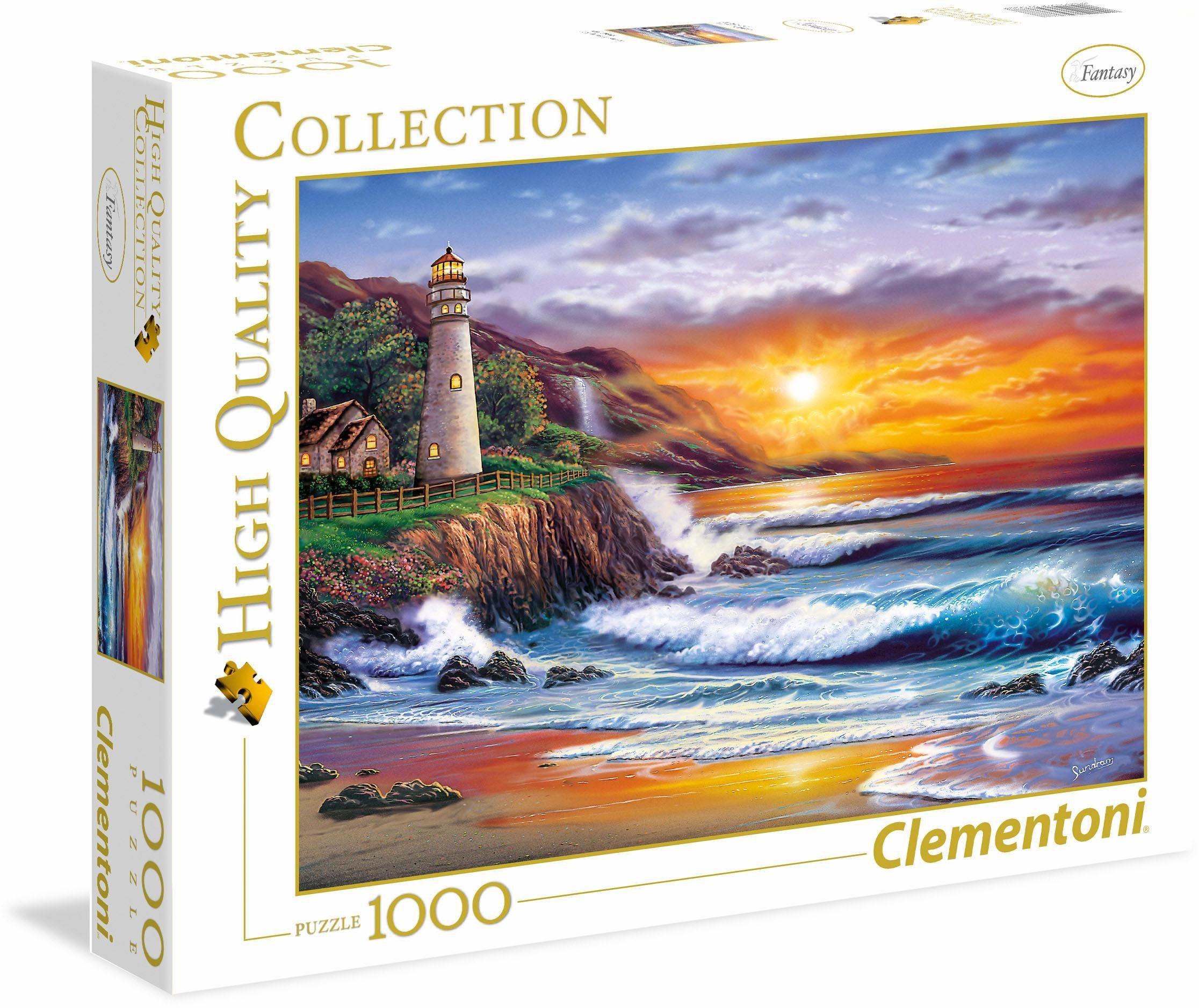 Clementoni Puzzle, 1000 Teile, »Leuchtturm bei Sonnenuntergang«