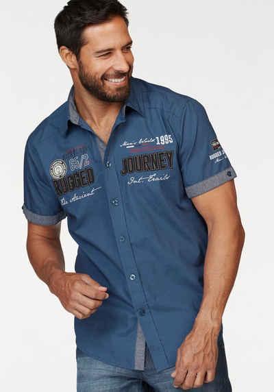 Man's World Kurzarmhemd mit Print und Aufnähern