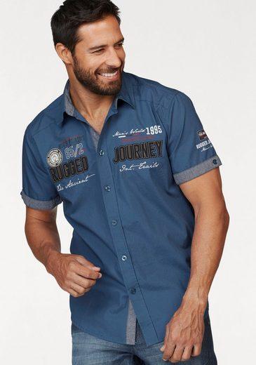 Schlussverkauf Man's World Kurzarmhemd mit Print und Aufnähern
