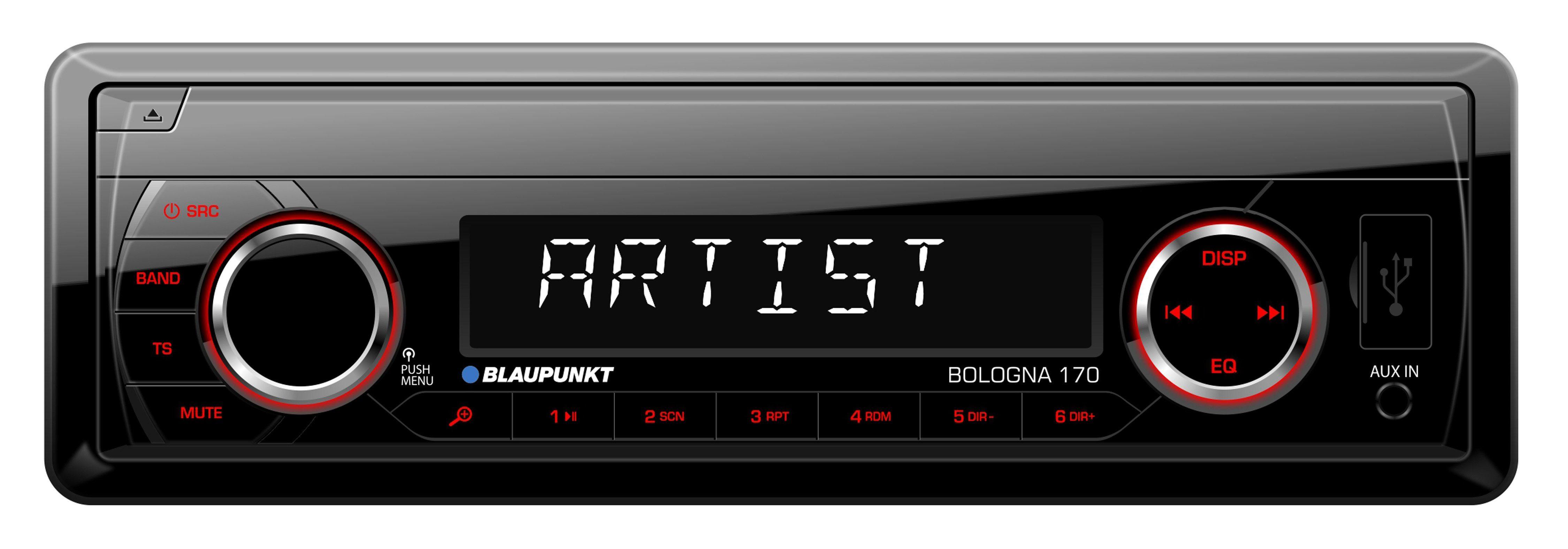 Blaupunkt 1-DIN Autoradio mit USB-Anschluss, X-BASS & abnehmbaren Panel »BOLOGNA 170«