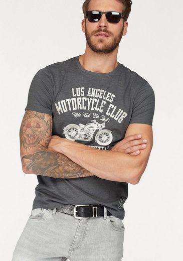 John Devin Rundhalsshirt, mit Biker Print
