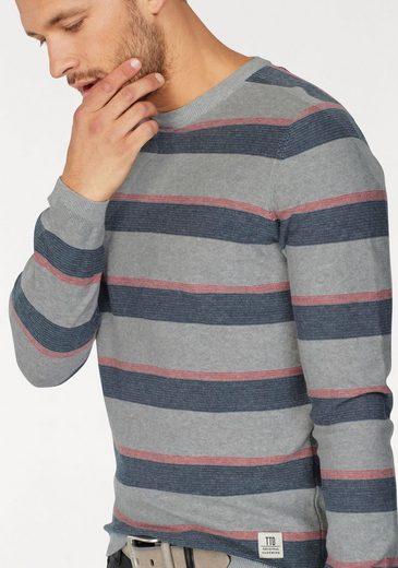 Tom Tailor Denim Rundhalspullover, mit mehrfarbigem Ringel