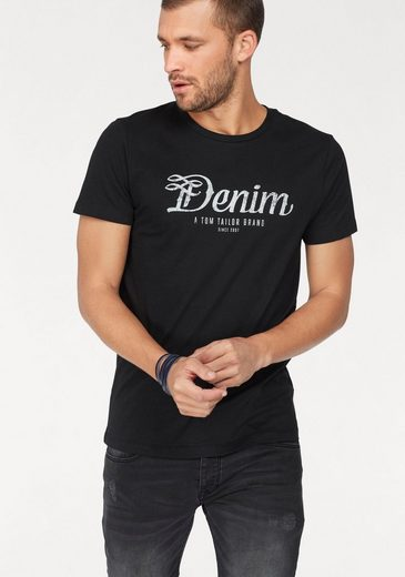 TOM TAILOR Denim Rundhalsshirt mit Markendruck in used Optik