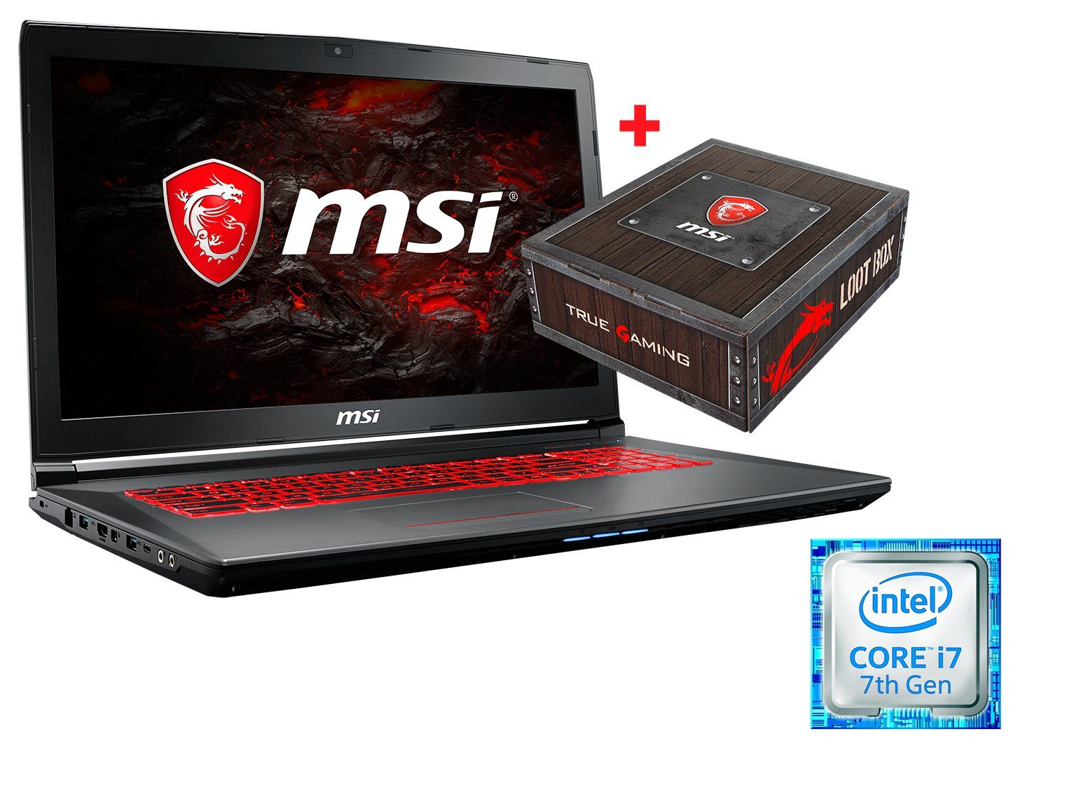 "MSI 17,3"", Intel® i7-7700HQ, 8GB, 1TB HDD, GeForce® GTX 1050 »GV72 7RD-1084DE Loot Box Bundle«"