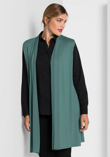 Sheego Style Long Vest With Chiffon-use