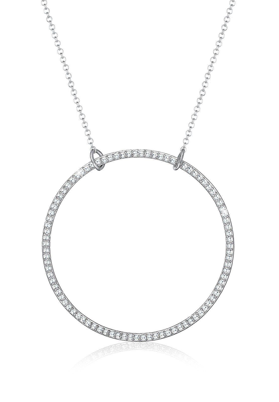Elli Halskette »Funkelnd Kreis Geo Zirkonia 925 Sterling Silber«
