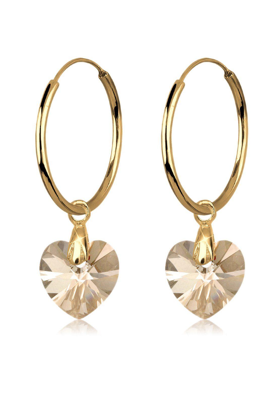 Goldhimmel Ohrringe »Herz Creolen Swarovski® Kristalle Liebe vergoldet«
