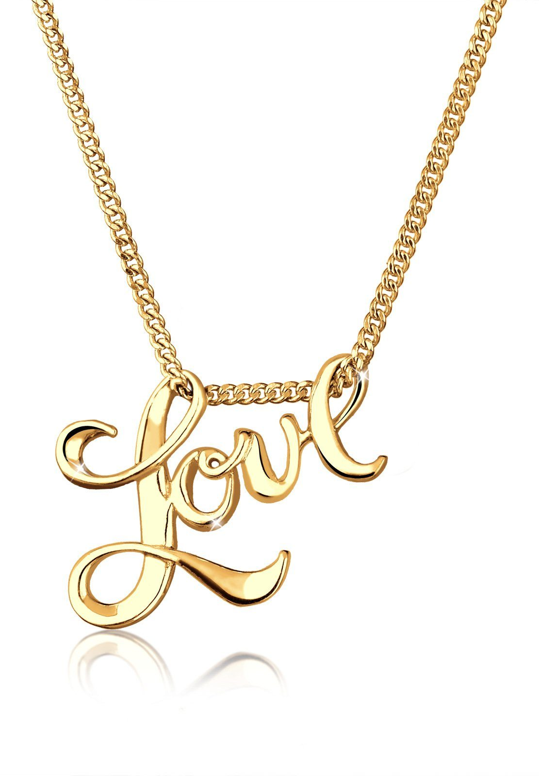Goldhimmel Halskette »Love Liebe Schriftzug Wording 925 Sterling Silber«