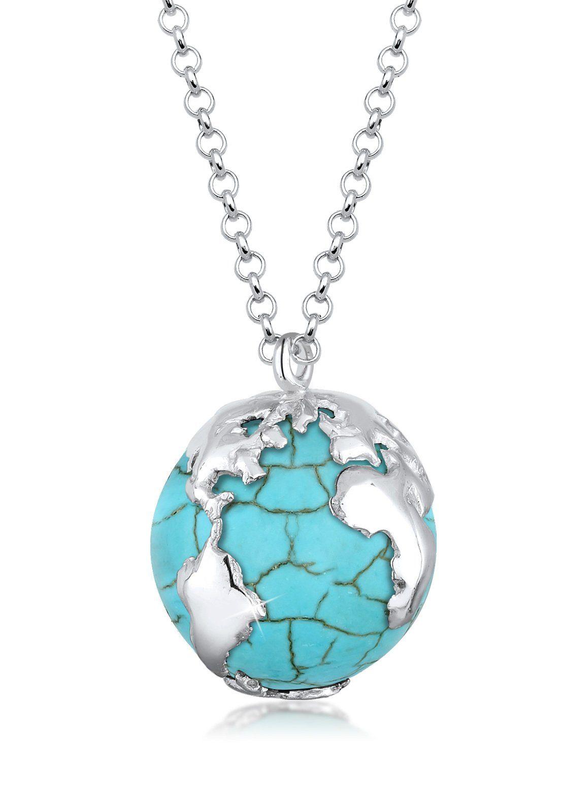 Elli Halskette »Globus Weltkugel Travel Howlit 925 Sterling Silber«