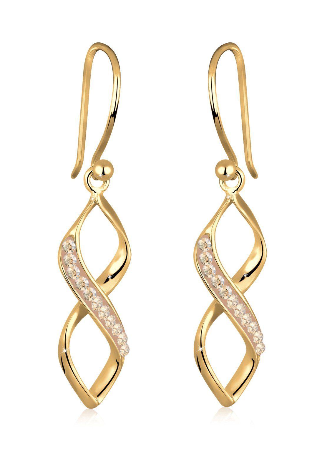 Goldhimmel Ohrringe »Spirale Infinity Swarovski® Kristalle vergoldet«