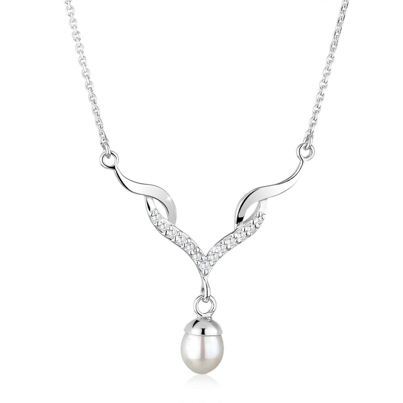 Perlu Halskette »Festlich Perle Zirkonia 925 Sterling Silber«