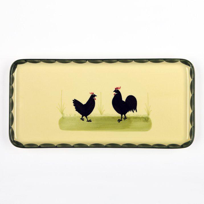 Zeller Keramik Stollenplatte »Hahn und Henne«