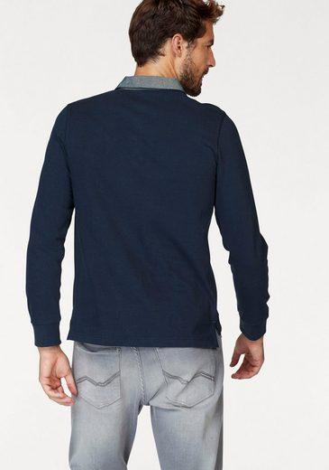 Rhode Island Langarm-Poloshirt, Chambray Kragen