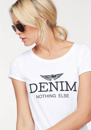 "Arizona Print-Shirt WM, mit großem ""Denim"" Statement Druck"