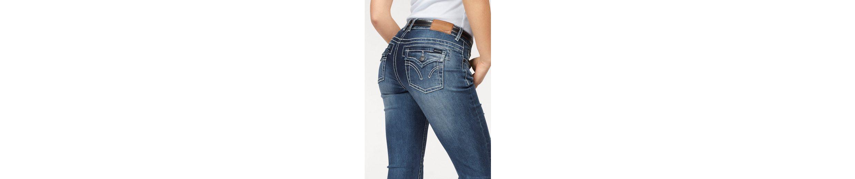Arizona Skinny-fit-Jeans mit Kontrastnähten und Pattentaschen, Low Waist