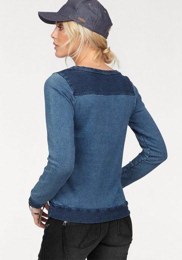Arizona Sweatshirt im Denim-Look, mit Patch-Einsätzen