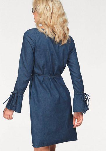 Arizona Jeanskleid Volant-Ärmelabschluß, mit seitlichen Eingrifftaschen