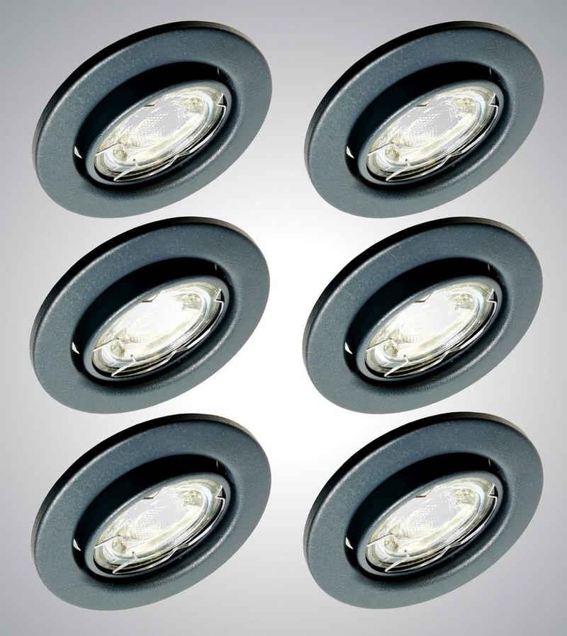 TRANGO LED Einbauleuchte, 6er Set 6729-061M6KSD LED Einbaustrahler Anthrazit matt Rund inkl. 6x 5 Watt 6000K Tageslichtweiß - 3 Stufen dimmbar Ultra Flach LED Modul, Einbauleuchte, Deckenspot, Einbauspot, Deckenleuchte, Downlight