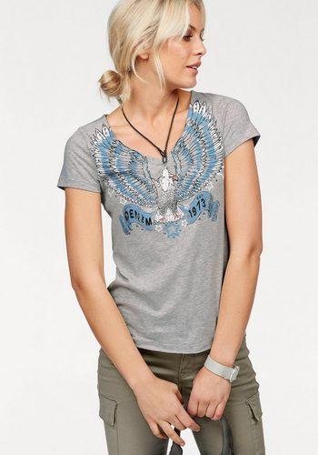 Damen Arizona V-Shirt mit Arizona Denim Print grau | 08940002035902