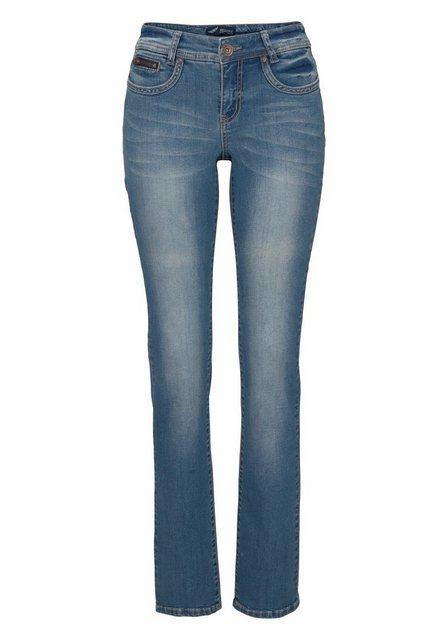 Hosen - Arizona Gerade Jeans »mit Zippertasche« Mid Waist › blau  - Onlineshop OTTO