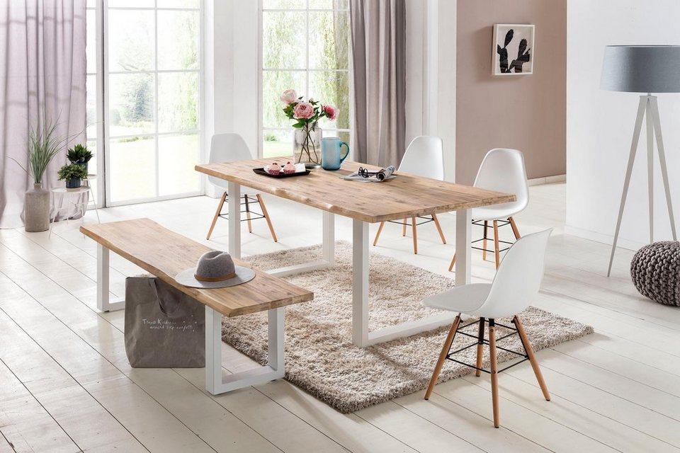 home affaire esstisch maryland aus massiver akazie und wei em metallgestell online kaufen otto. Black Bedroom Furniture Sets. Home Design Ideas