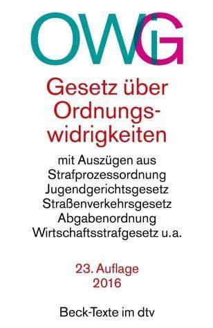 Broschiertes Buch »Gesetz über Ordnungswidrigkeiten (OWiG)«