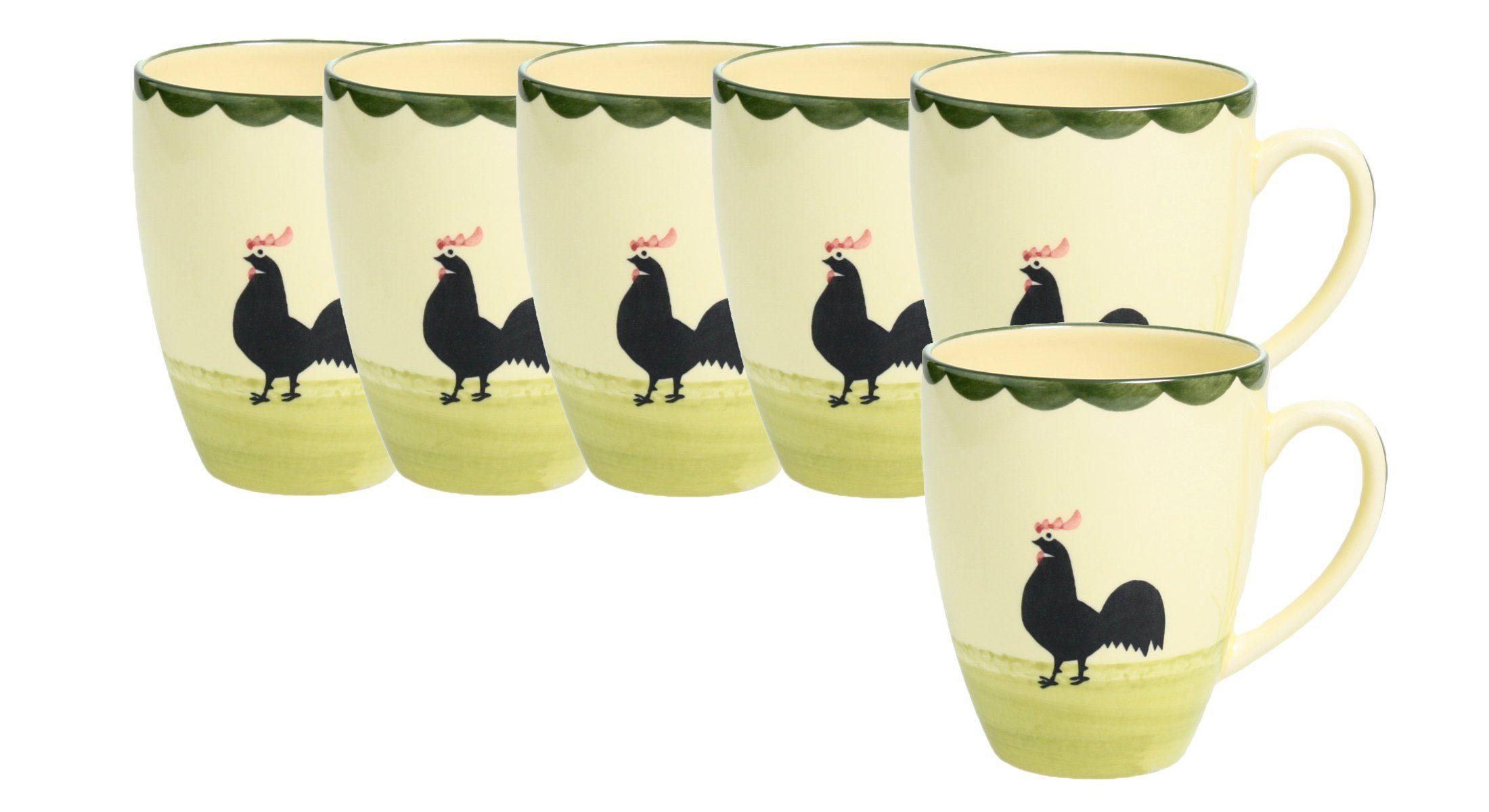 Zeller Keramik Milchkaffee Obertasse 6er-Set »Hahn und Henne«
