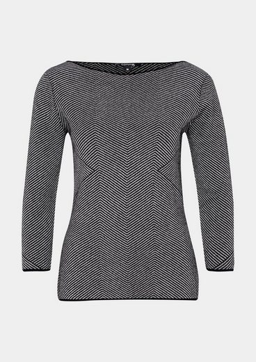 COMMA 3/4-Arm Pullover mit Op-Art Muster