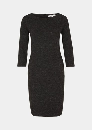 Comma Elegant 3/4 Arm Dress In Rib-optic