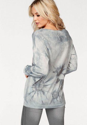 Zabaglione V-neck Sweater-fleur, With Rhinestone Applications