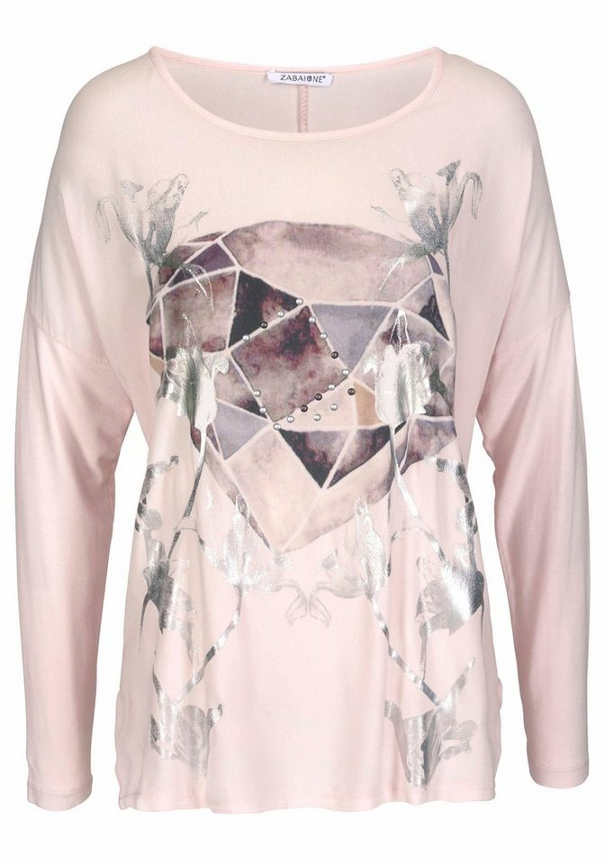 ZABAIONE Langarmshirt »DIAMOND« mit Metallic Print