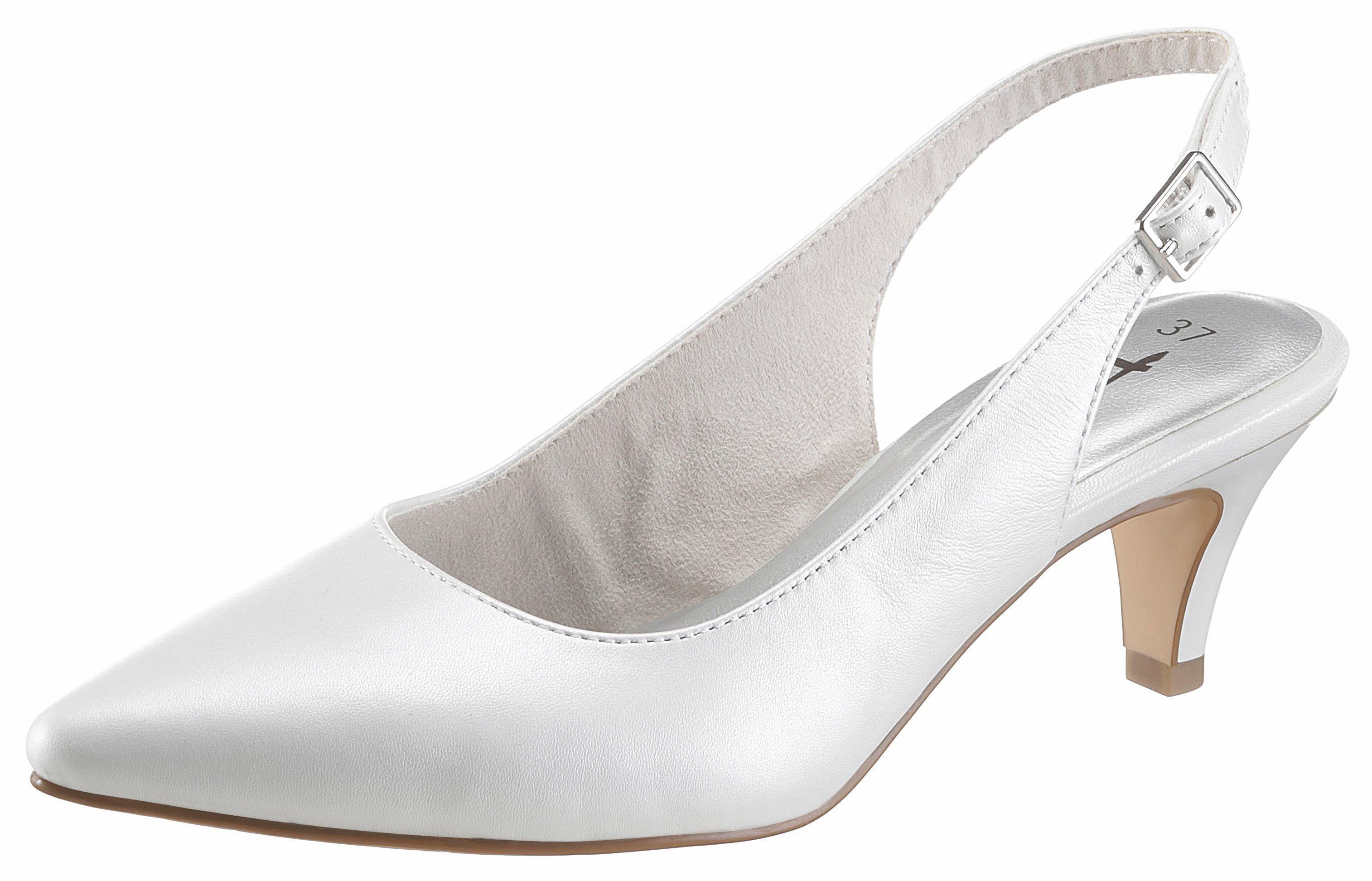 Tamaris Slingpumps, mit 6 cm Absatz, weiß, weiß