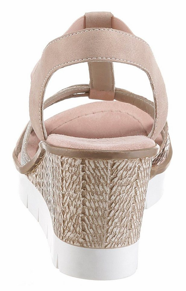 Damen Rieker Sandalette, mit Glitzerriemchen rosa   04059954584926