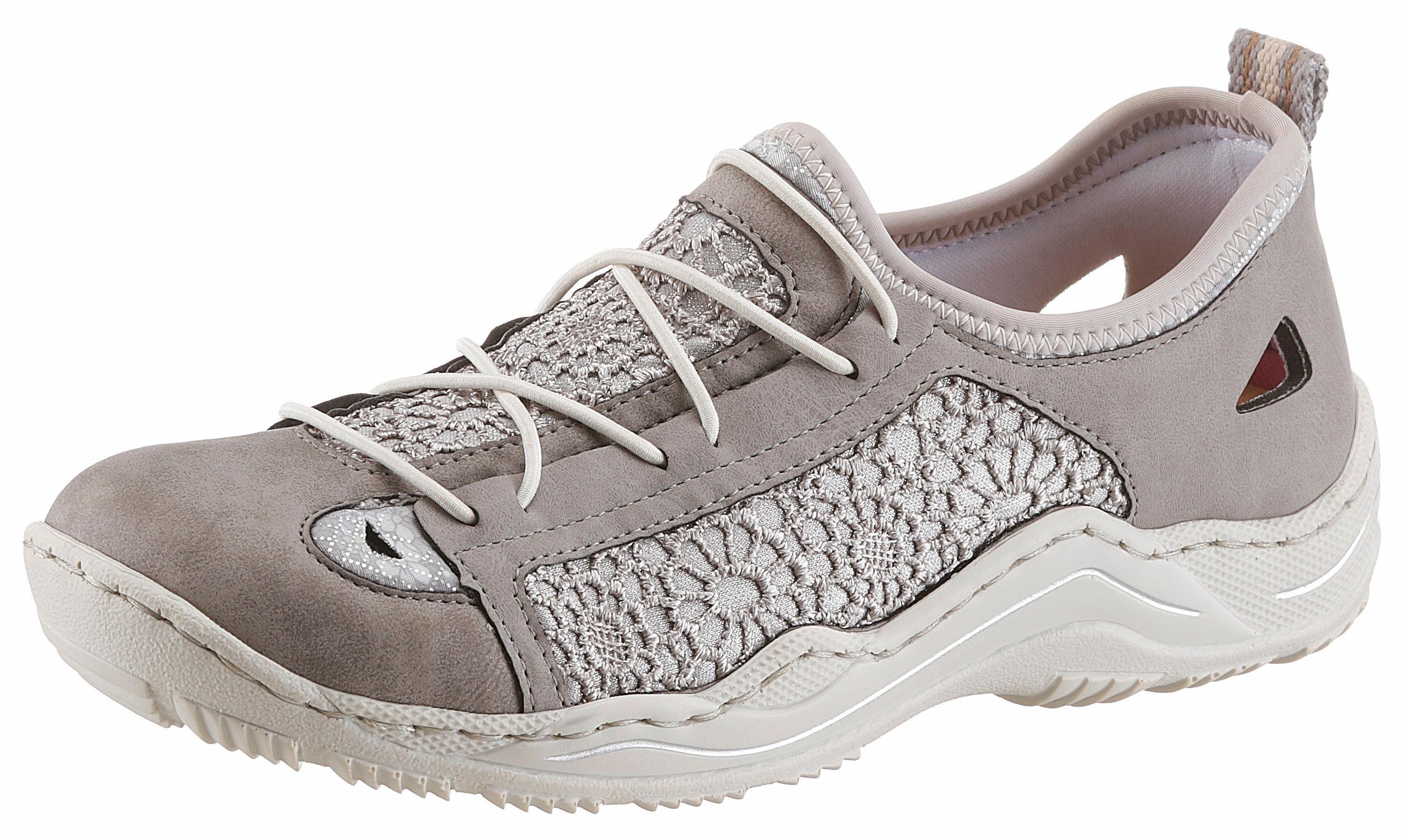 Rieker Slip-On Sneaker, mit Spitzen-Einsatz kaufen  taupe-silberfarben