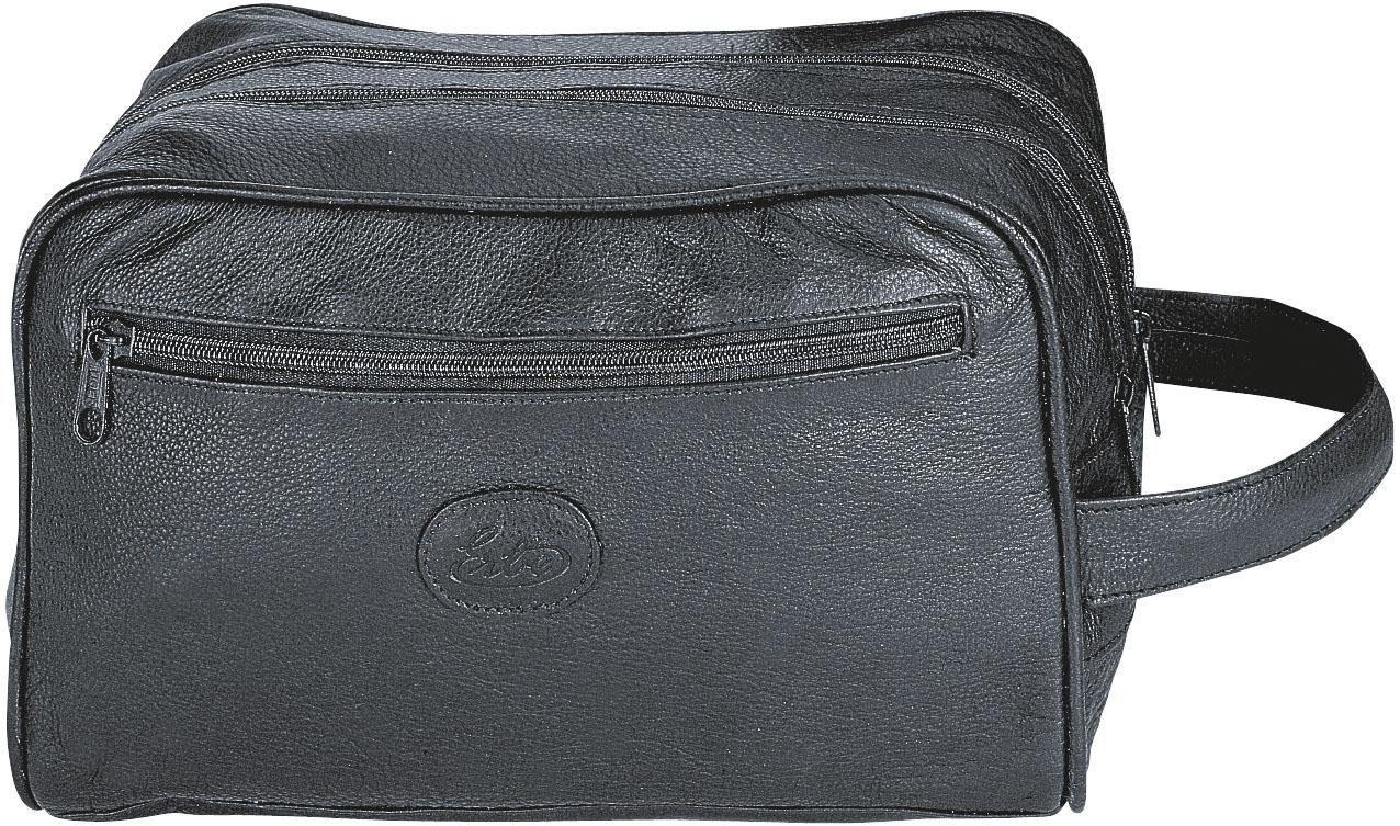 Erbe, »Kulturtasche«, feines Leder, schwarz, 3 Fächer mit Zippverschluss