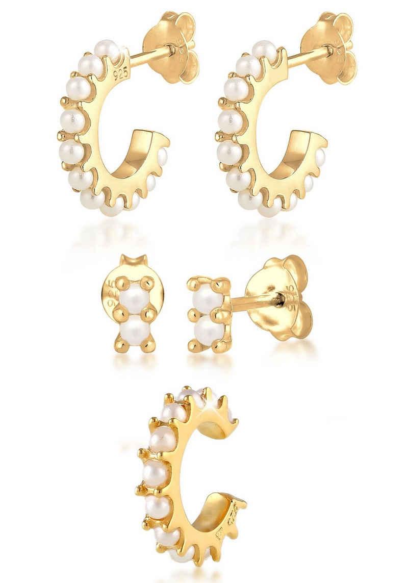 Elli Ohrring-Set »Ohrringe Creolen Stecker Earcuff Perlen, 0301221020« (Set, 5-tlg), mit Kristallperlen